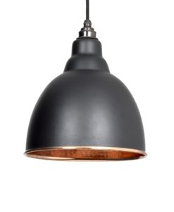 Brindley Pendant Light In Black & Hammered Copper