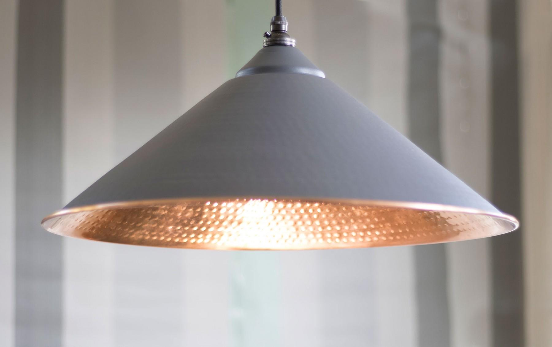 Dark Grey Hammered Copper Yardley Pendant Light Period