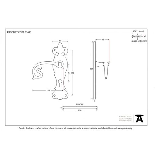 Black Curly Lever Lock Set Door Handle