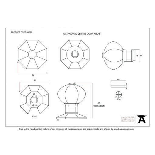 Octagonal Centre Door Knob In Pewter