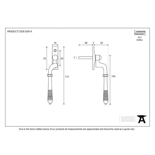 Reeded Window Espag Handle In Polished Nickel (LH)