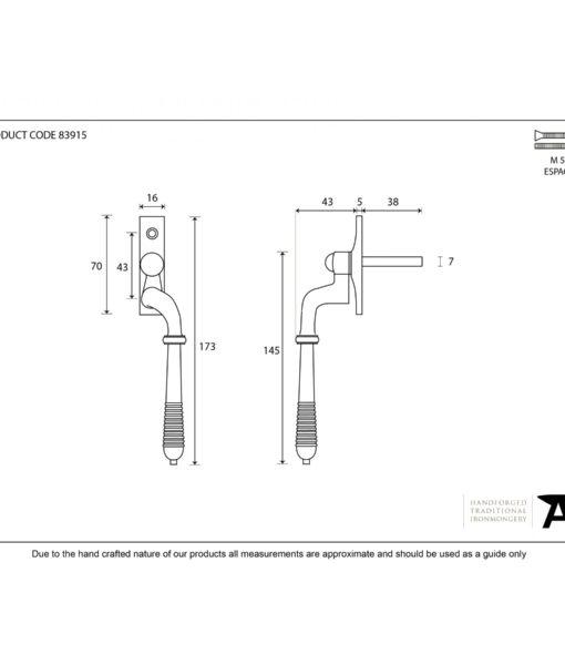 Reeded Window Espag Handle In Aged Brass (RH)
