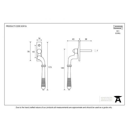 Reeded Window Espag Handle In Polished Nickel (RH)