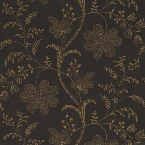 Little Greene Bedford Square Ebony Gold Wallpaper