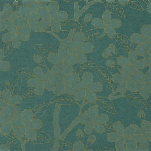 Little Greene Camellia Teal Wallpaper