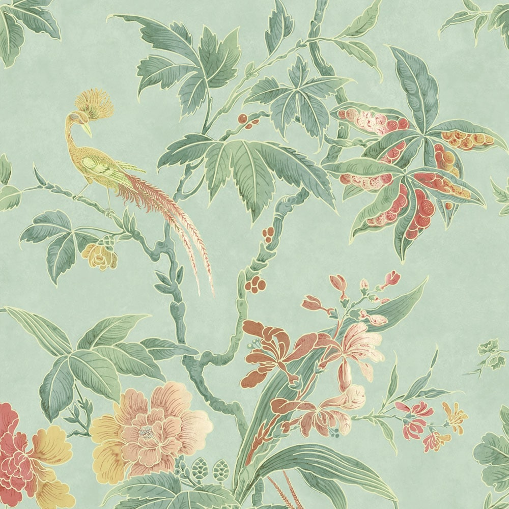 Little Greene Paradise Aquamarine Wallpaper