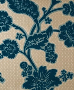 Little Greene Soho Square Marine Flock Wallpaper