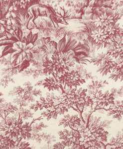 Little Greene Stag Toile Burgundy Wallpaper