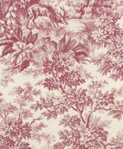 Little Greene Stag Toile Burgundy Wallpaper
