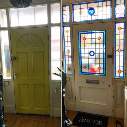 BD01 – Hardwood Two Panel Door Before & After
