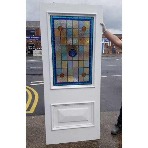 BD01 – Hardwood Two Panel Door With Stained Glass