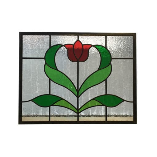 SG157 - 1930s Art Nouveau Rose Stained Glass Panel